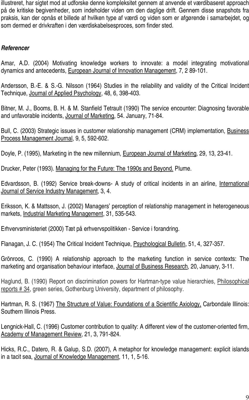 Referencer Amar, A.D. (2004) Motivating knowledge workers to innovate: a model integrating motivational dynamics and antecedents, European Journal of Innovation Management, 7, 2 89-101. Andersson, B.
