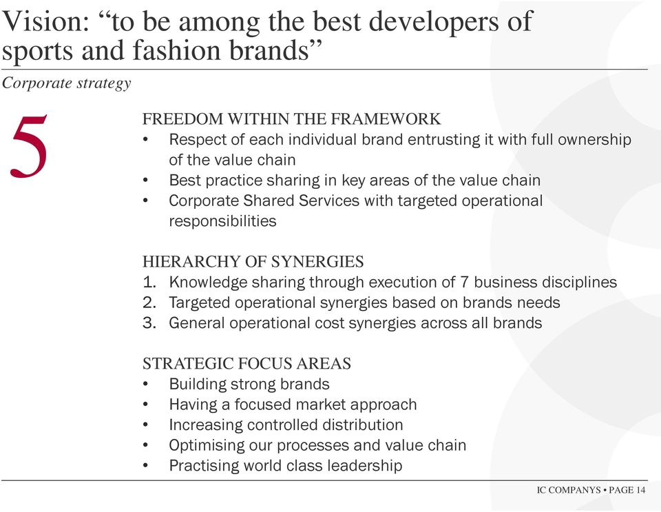 Knowledge sharing through execution of 7 business disciplines 2. Targeted operational synergies based on brands needs 3.