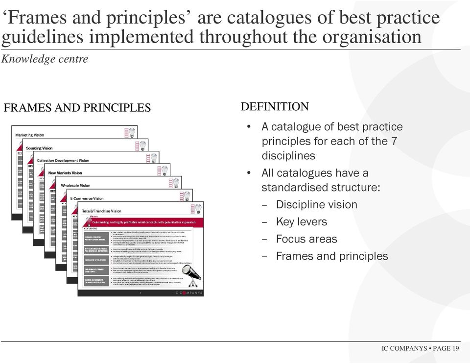 practice principles for each of the 7 disciplines All catalogues have a standardised
