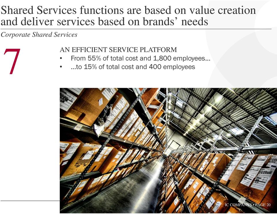 Services 7 AN EFFICIENT SERVICE PLATFORM From 55% of total cost