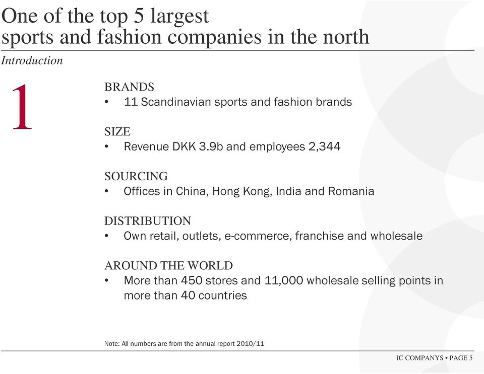 9b and employees 2,344 SOURCING Offices in China, Hong Kong, India and Romania DISTRIBUTION Own retail, outlets,