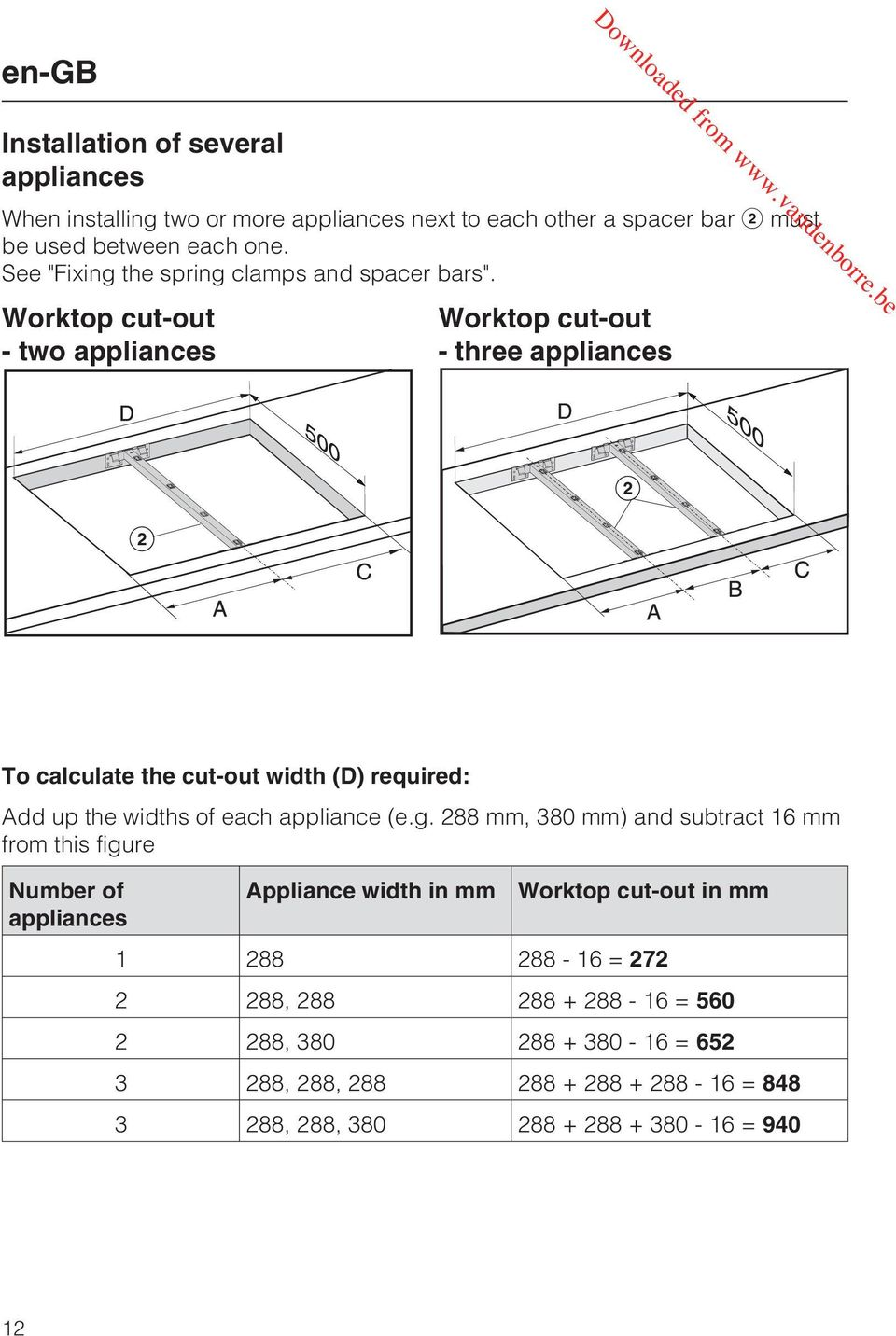 Worktop cut-out - two appliances Worktop cut-out - three appliances To calculate the cut-out width (D) required: Add up the widths of each appliance (e.g.