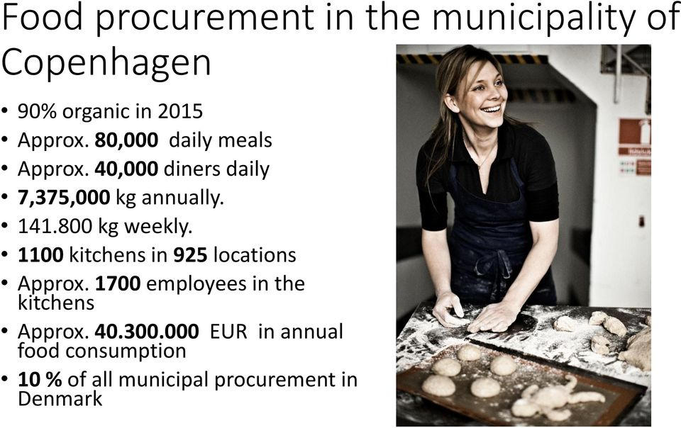 800 kg weekly. 1100 kitchens in 925 locations Approx.
