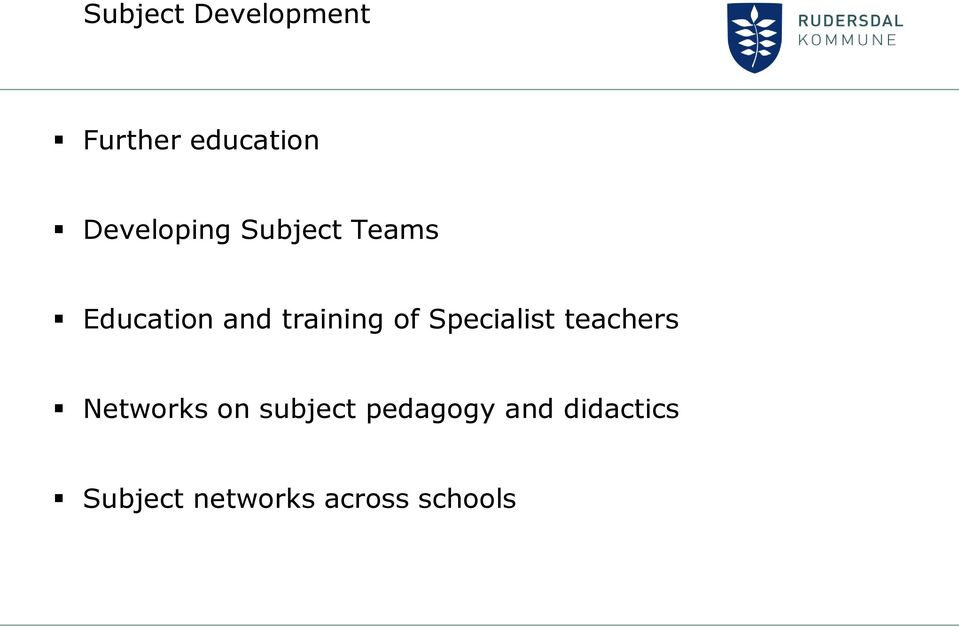 training of Specialist teachers Networks on