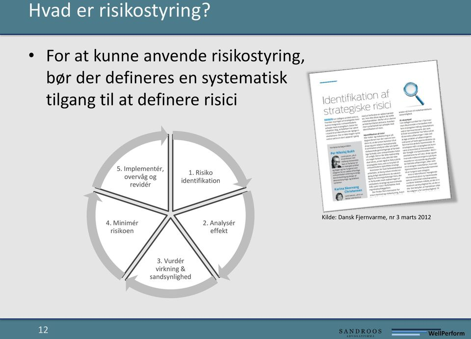 tilgang til at definere risici 5. Implementér, overvåg og revidér 1.