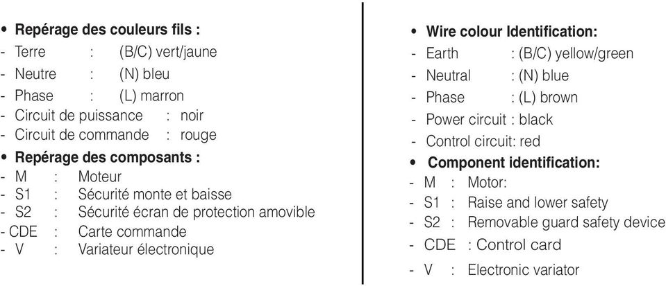 Variateur électronique Wire colour Identification: - Earth : (B/C) yellow/green - Neutral : (N) blue - Phase : (L) brown - Power circuit : black - Control
