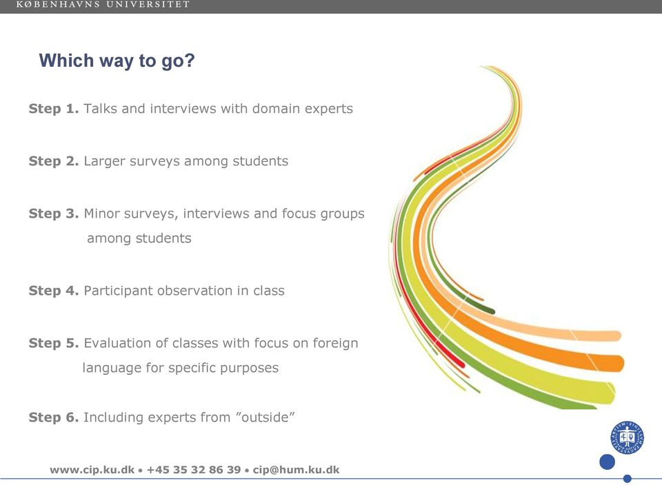 Minor surveys, interviews and focus groups among students Step 4.