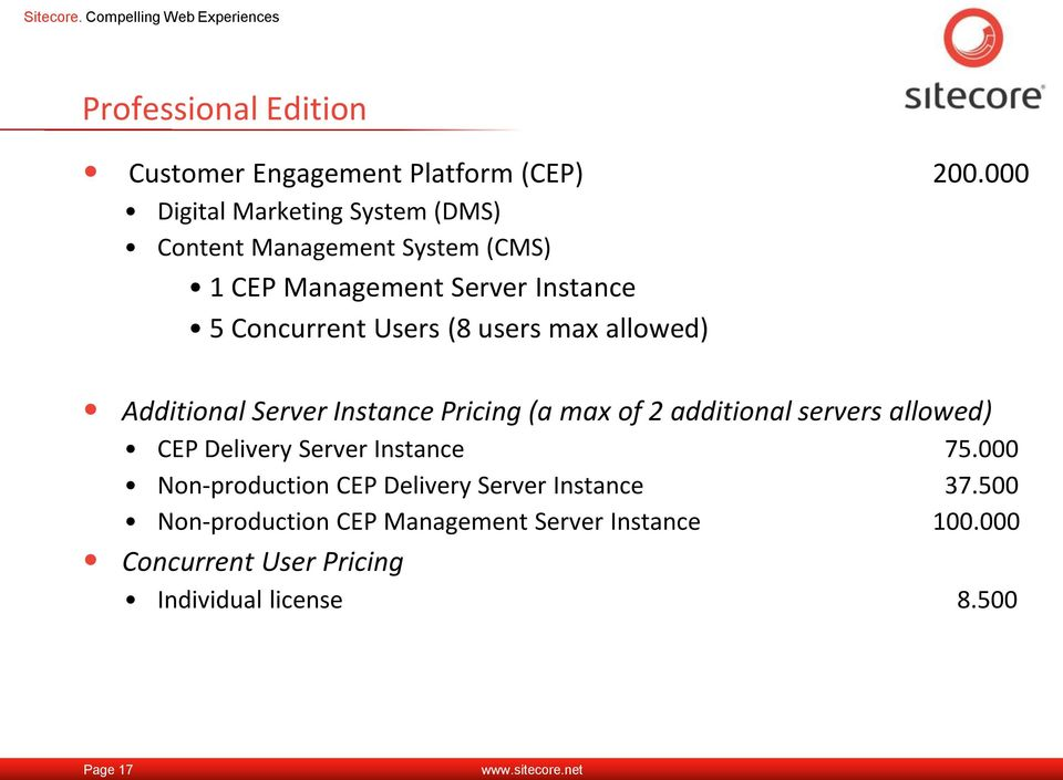 (8 users max allowed) Additional Server Instance Pricing (a max of 2 additional servers allowed) CEP Delivery Server