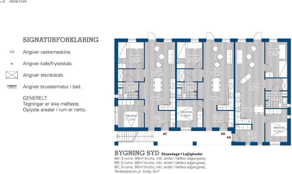 11,1m² 7,8m² 11,0m² 7,8m² 5,8m² 6C 6B 6A 7,8m² 11,3m² Bygning syd Stueetage Lejligheder 6A: 3-rums. 98m² brutto, inkl.