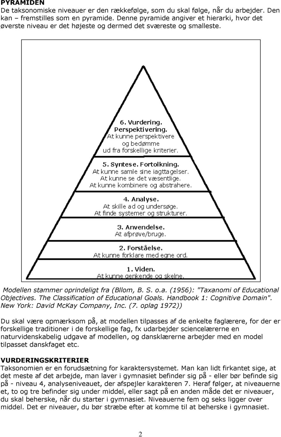 "The Classification of Educational Goals. Handbook 1: Cognitive Domain"". New York: David McKay Company, Inc. (7."