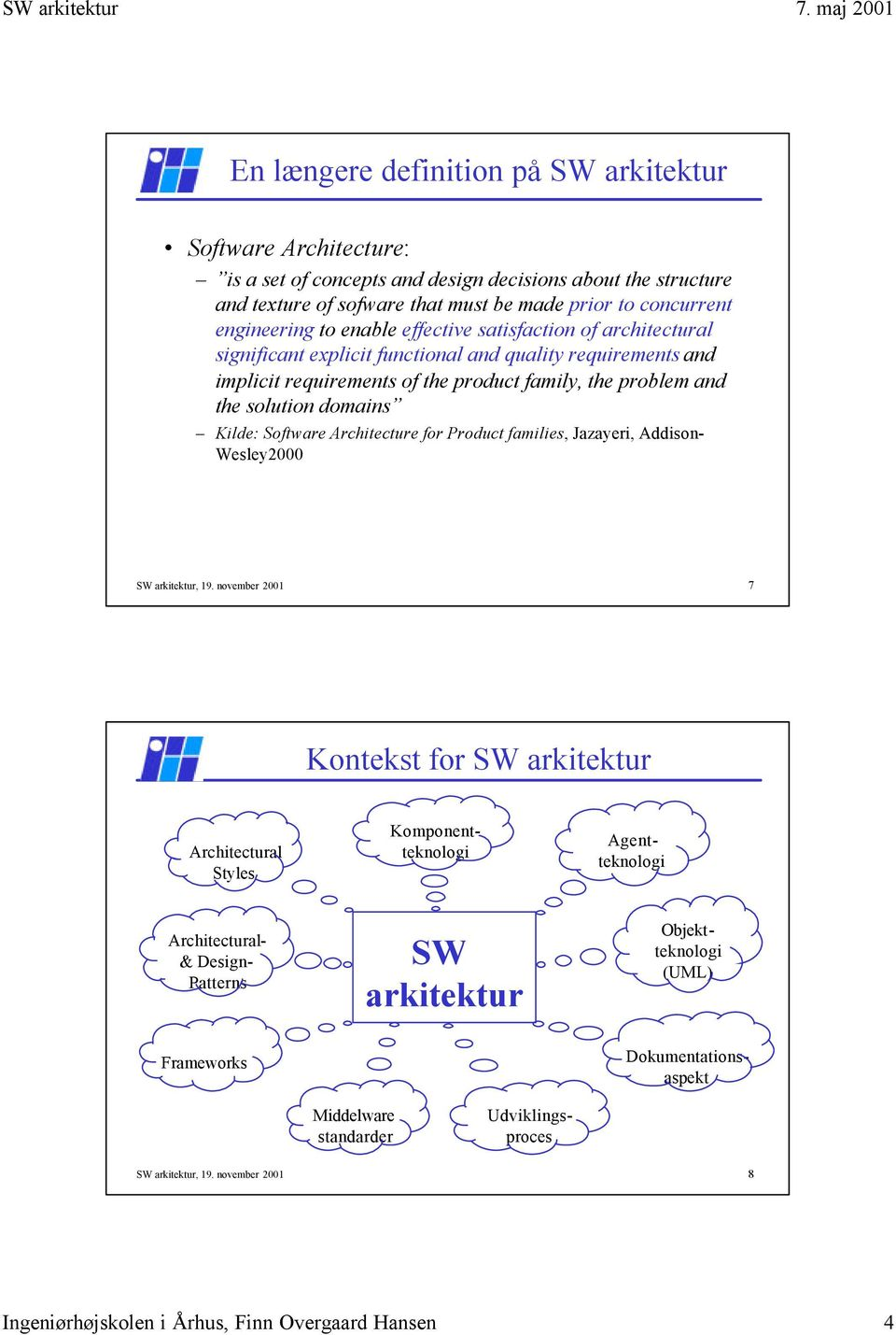 Software Architecture for Product families, Jazayeri, Addison- Wesley2000 SW arkitektur, 19.