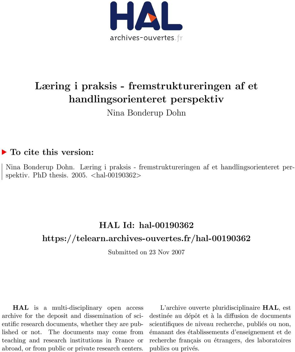 fr/hal-00190362 Submitted on 23 Nov 2007 HAL is a multi-disciplinary open access archive for the deposit and dissemination of scientific research documents, whether they are published or not.