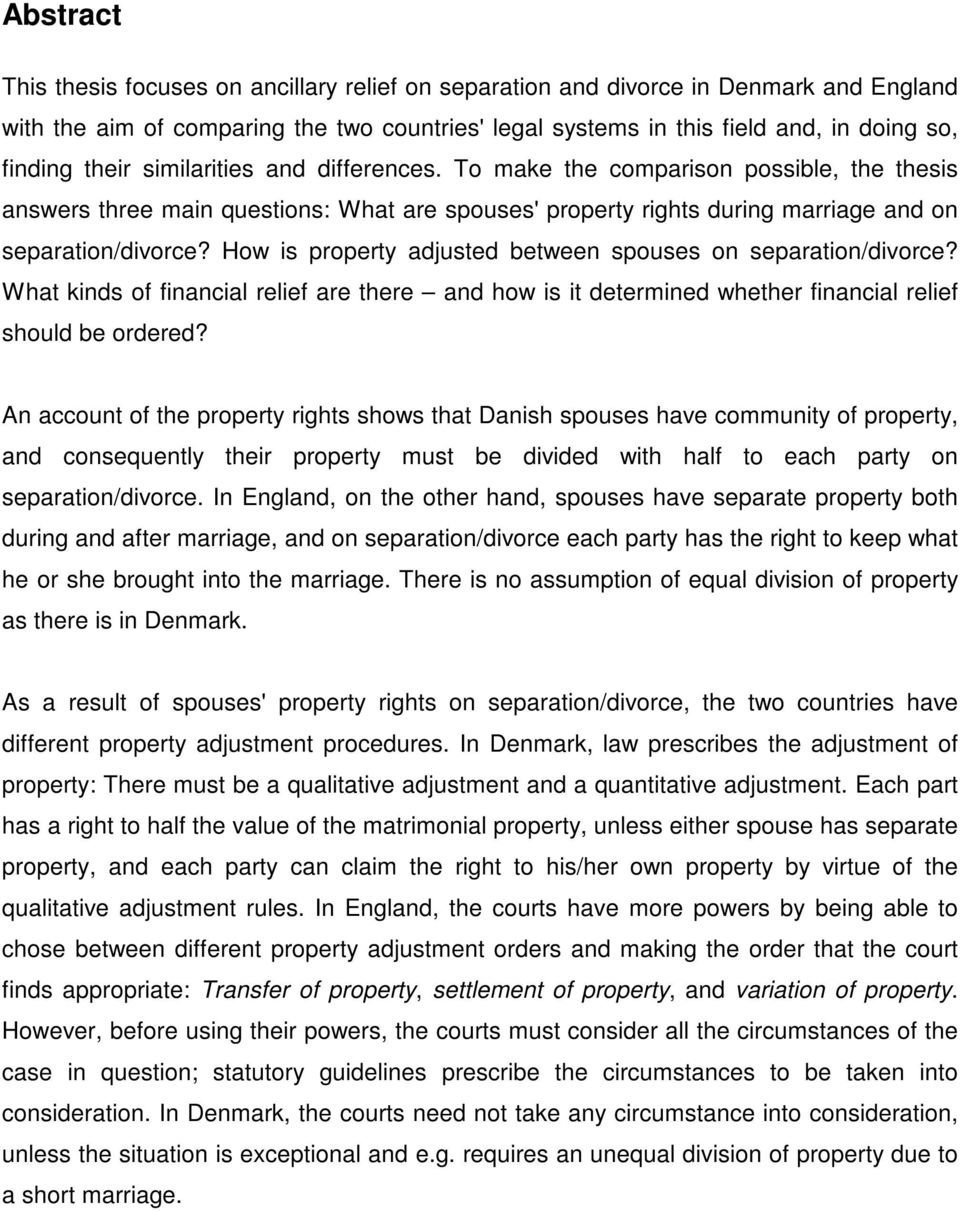How is property adjusted between spouses on separation/divorce? What kinds of financial relief are there and how is it determined whether financial relief should be ordered?