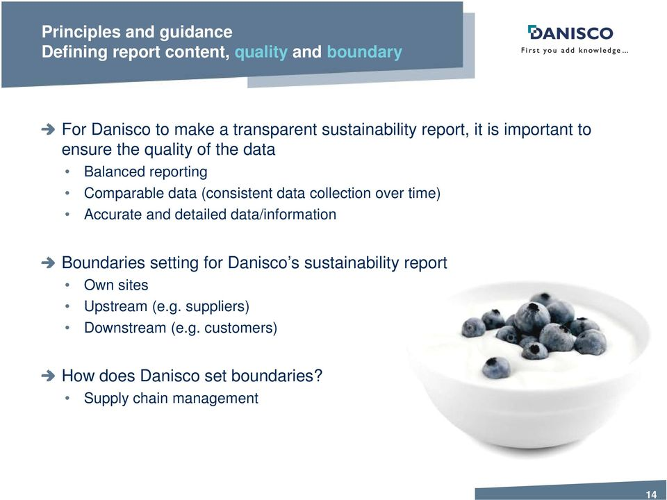 (consistent data collection over time) Accurate and detailed data/information Boundaries setting for Danisco s