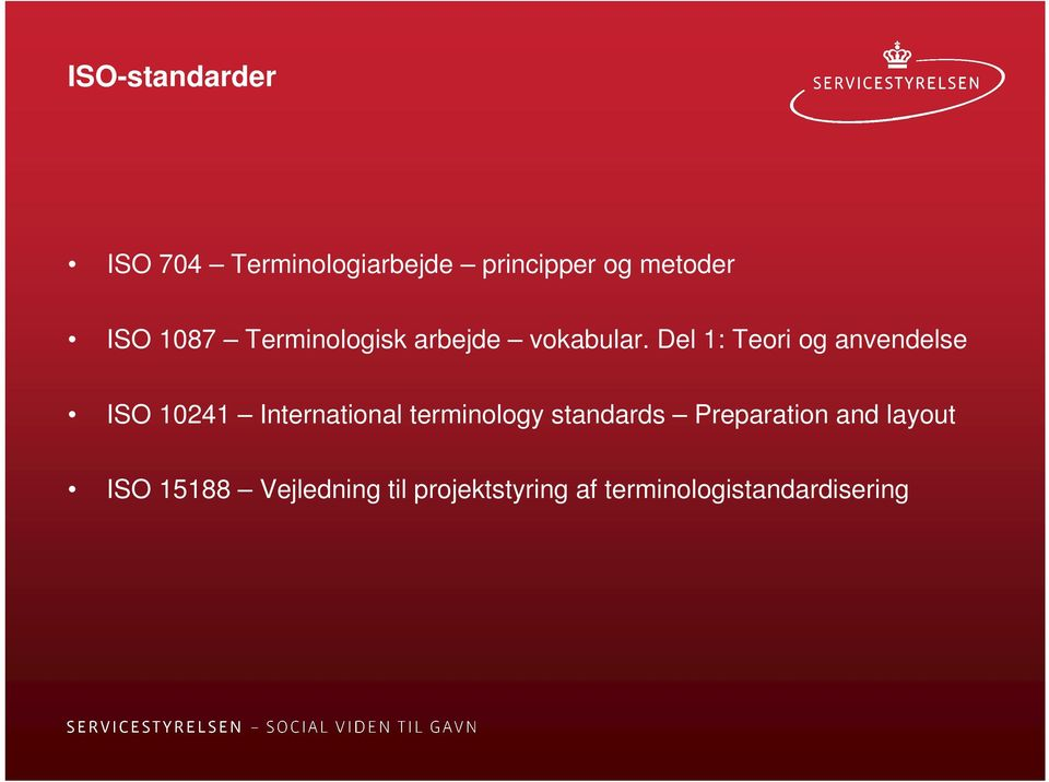 Del 1: Teori og anvendelse ISO 10241 International terminology
