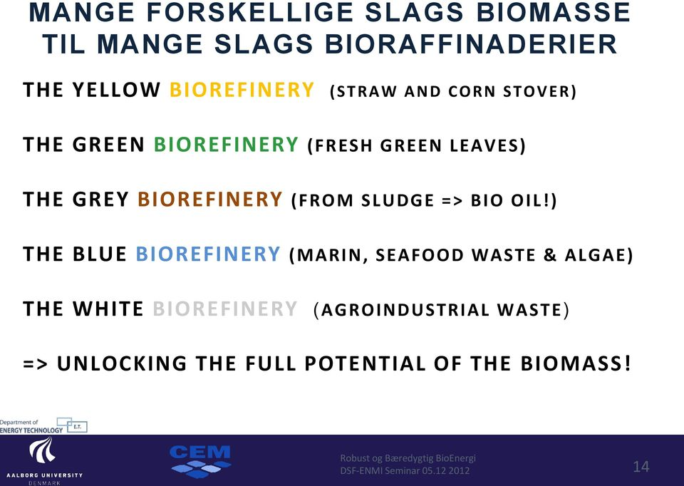 ) THE BLUE BIOREFINERY (MARIN, SEAFOOD WASTE & ALGAE) THE WHITE BIOREFINERY (AGROINDUSTRIAL WASTE) =>
