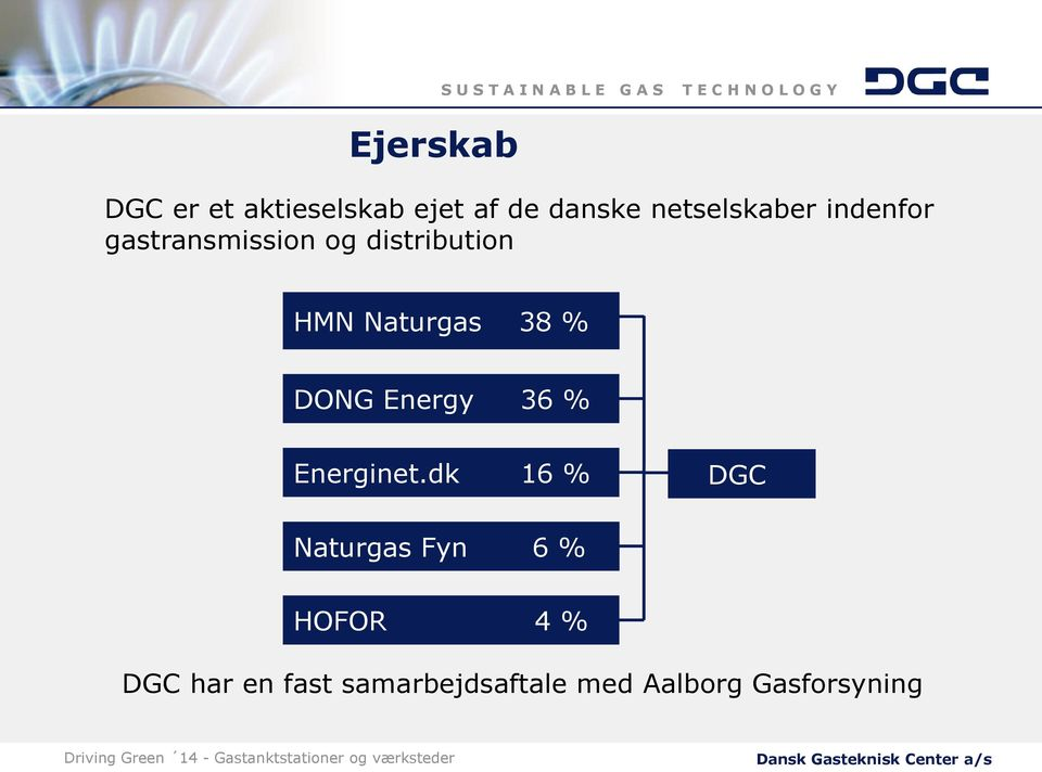 Naturgas 38 % DONG Energy 36 % Energinet.