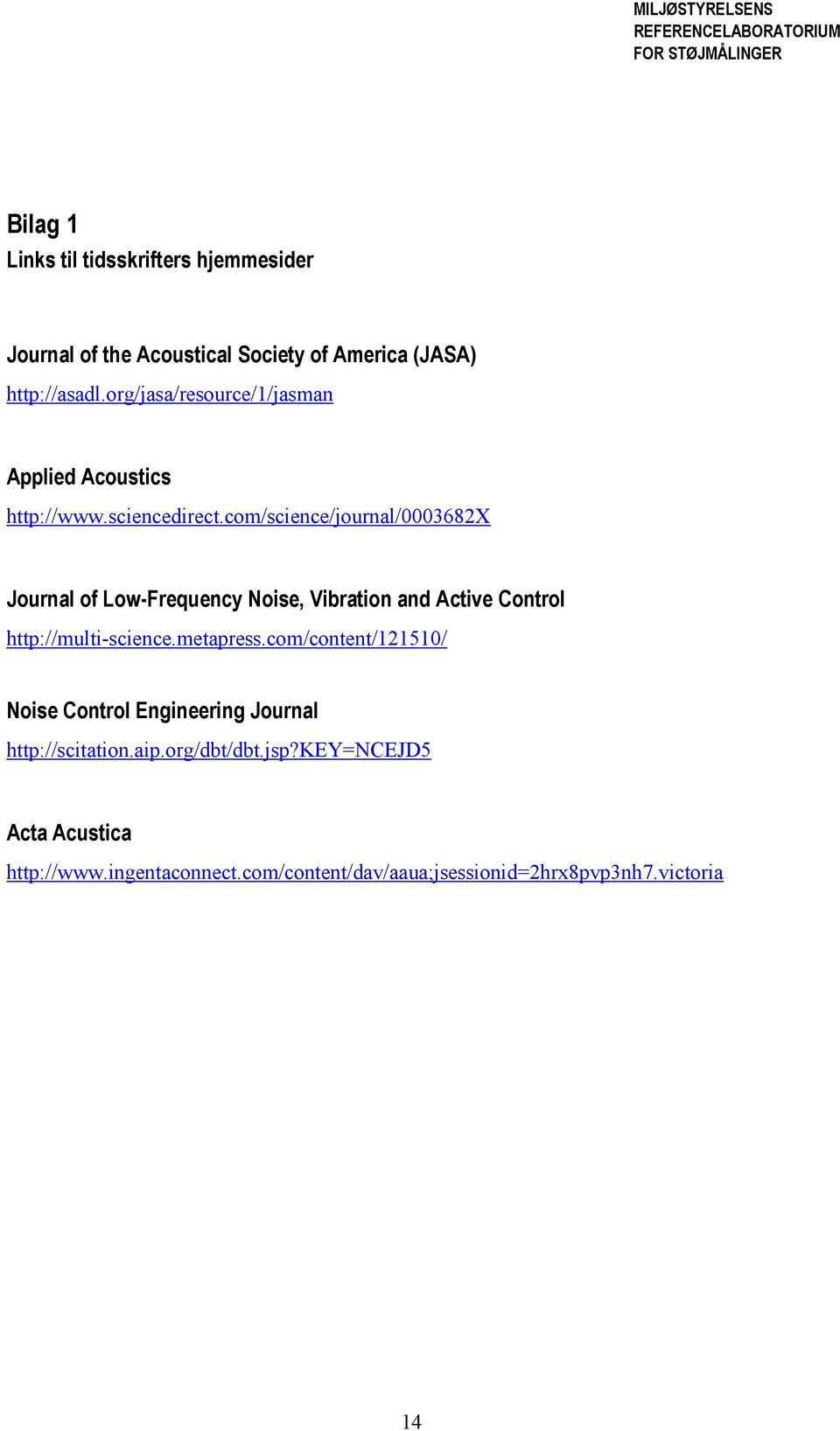 com/science/journal/0003682x Journal of Low-Frequency Noise, Vibration and Active Control http://multi-science.metapress.