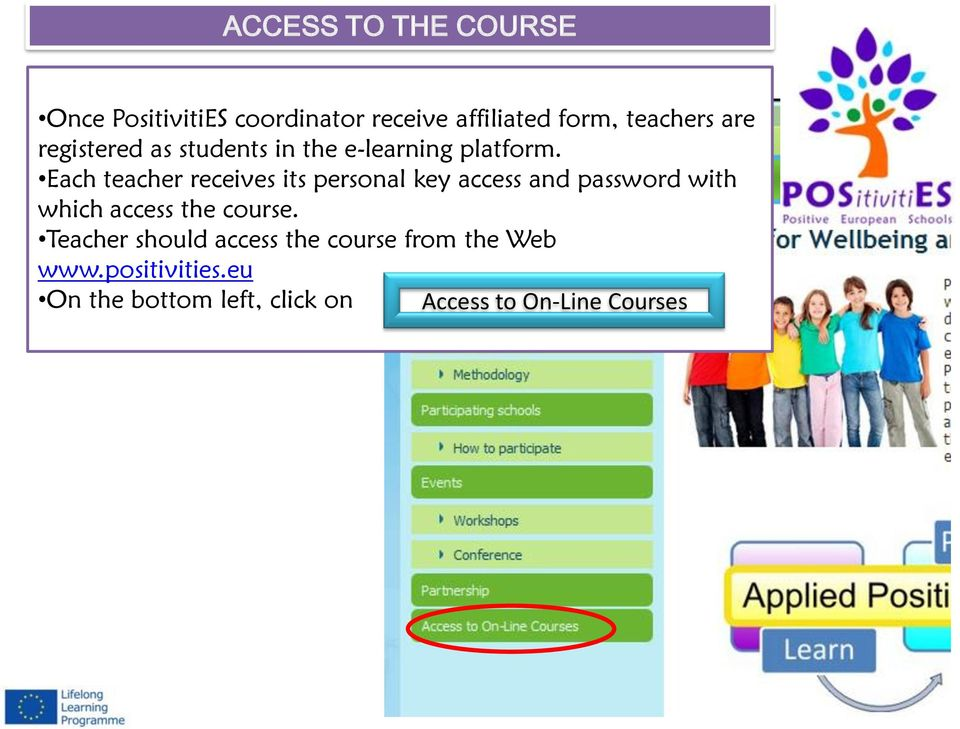 Each teacher receives its personal key access and password with which access the course.