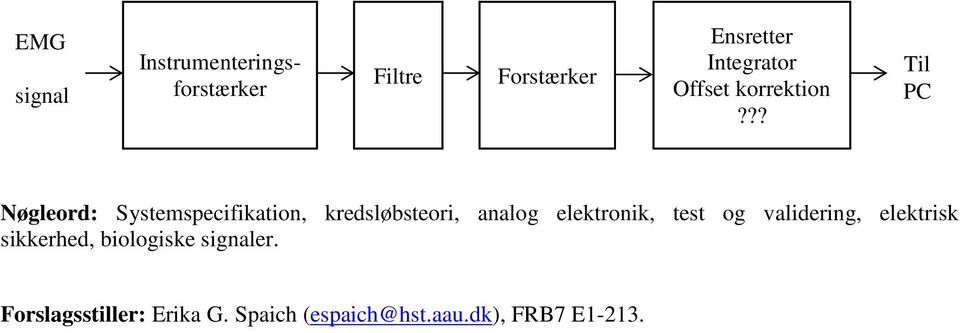 ?? Til PC Nøgleord: Systemspecifikation, kredsløbsteori, analog