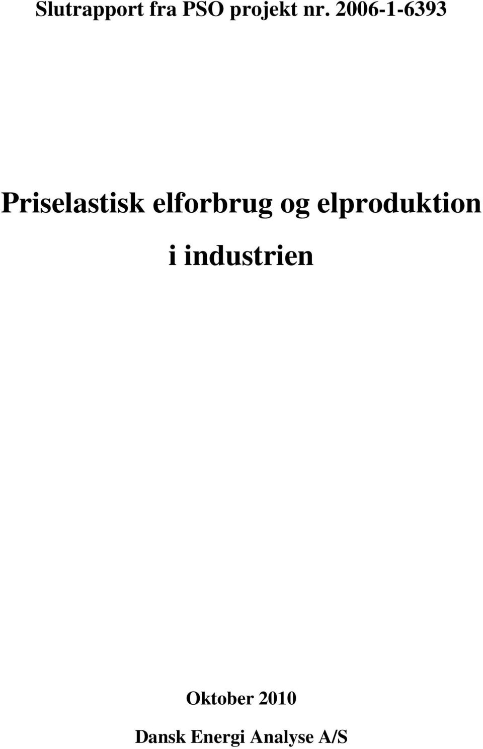 og elproduktion i industrien