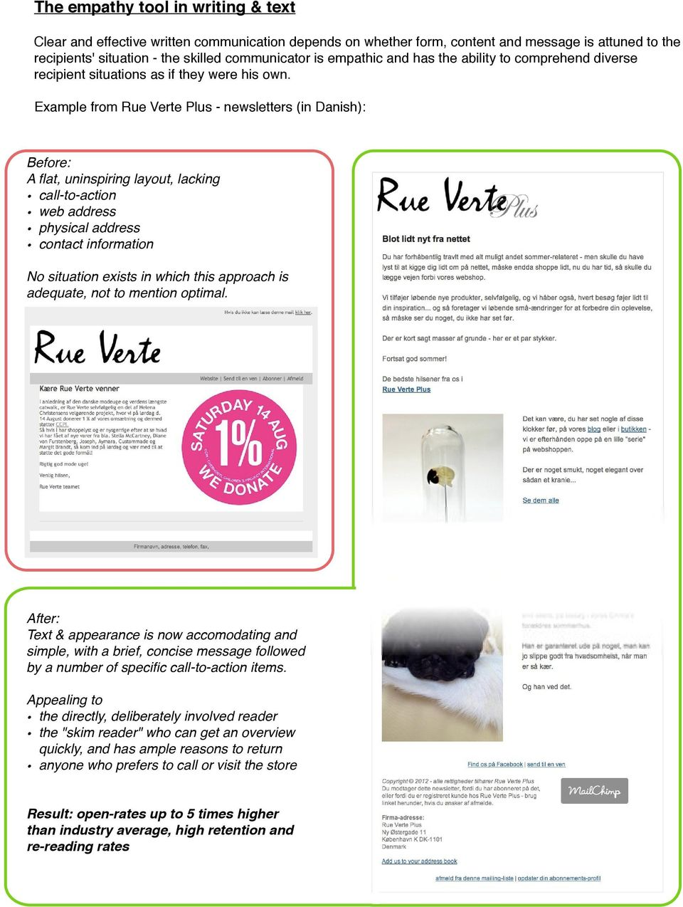 Example from Rue Verte Plus - newsletters (in Danish): Before: A flat, uninspiring layout, lacking call-to-action web address physical address contact information No situation exists in which this