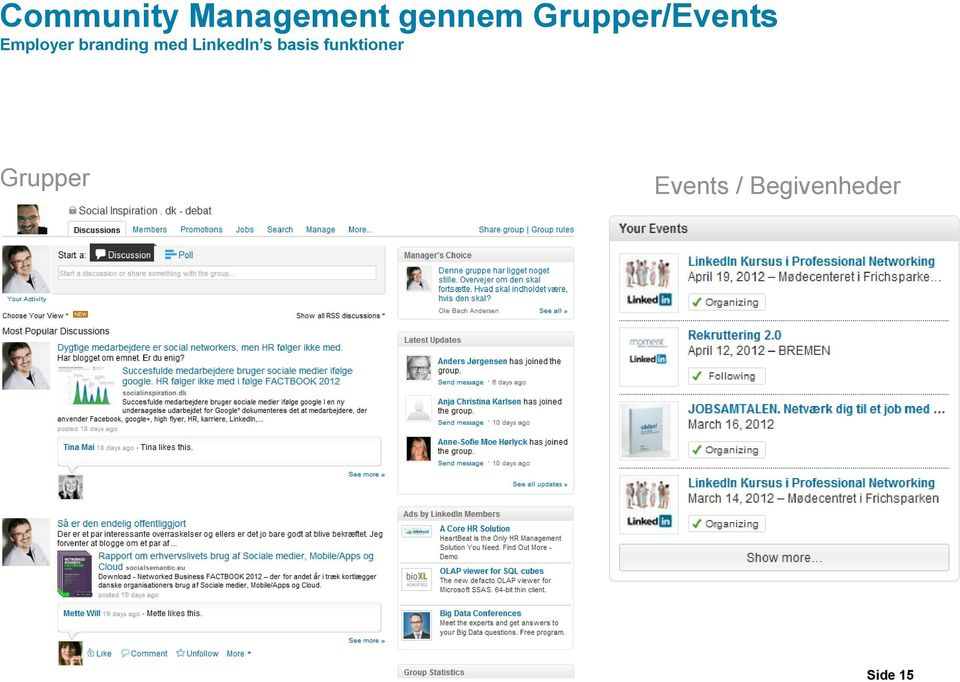 med LinkedIn s basis funktioner