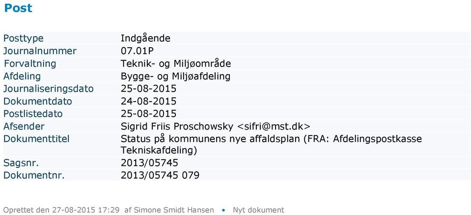 25-08-2015 Afsender Sigrid Friis Proschowsky <sifri@mst.