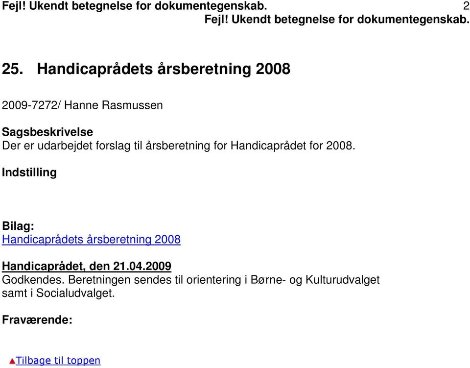 Handicaprådet for 2008.