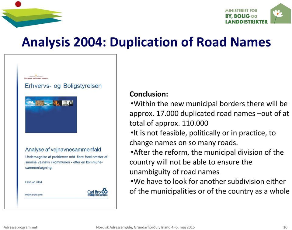 000 It is not feasible, politically or in practice, to change names on so many roads.
