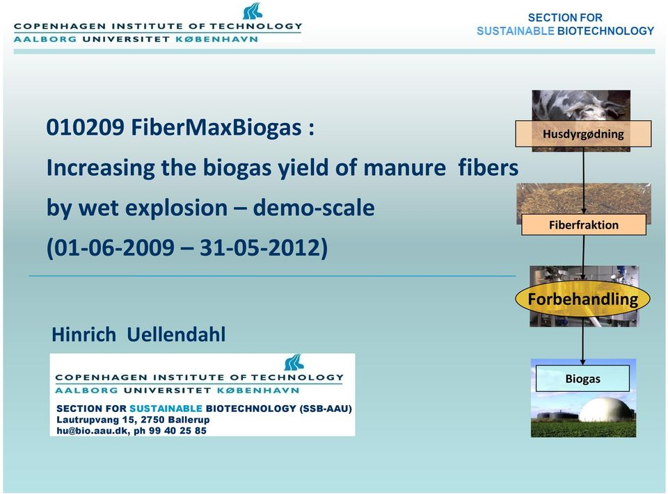 Fiberfraktion Forbehandling Biogas SECTION FOR SUSTAINABLE