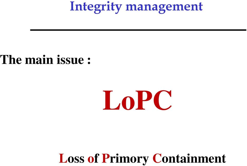 main issue : LoPC