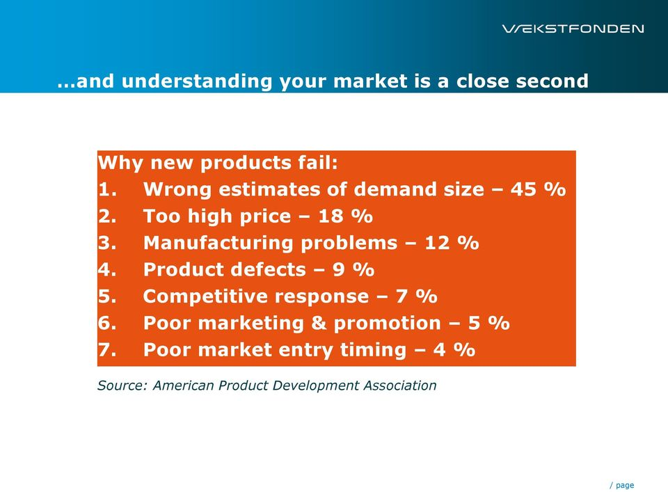 Manufacturing problems 12 % 4. Product defects 9 % 5. Competitive response 7 % 6.