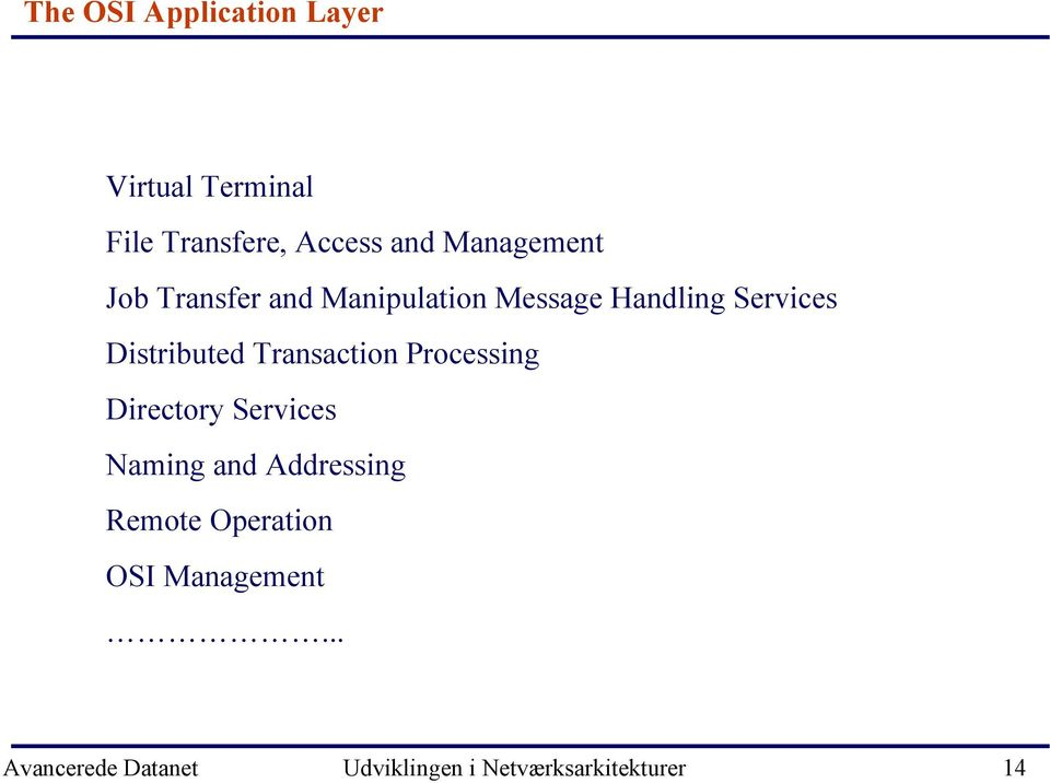 Distributed Transaction Processing Directory Services Naming and Addressing