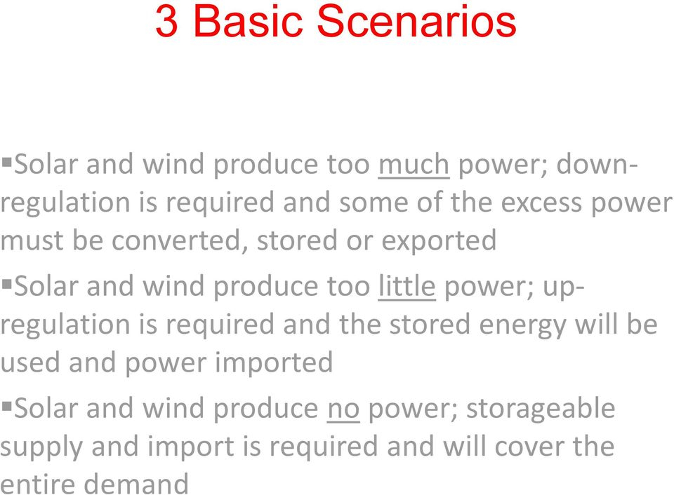 power; upregulation is required and the stored energy will be used and power imported Solar