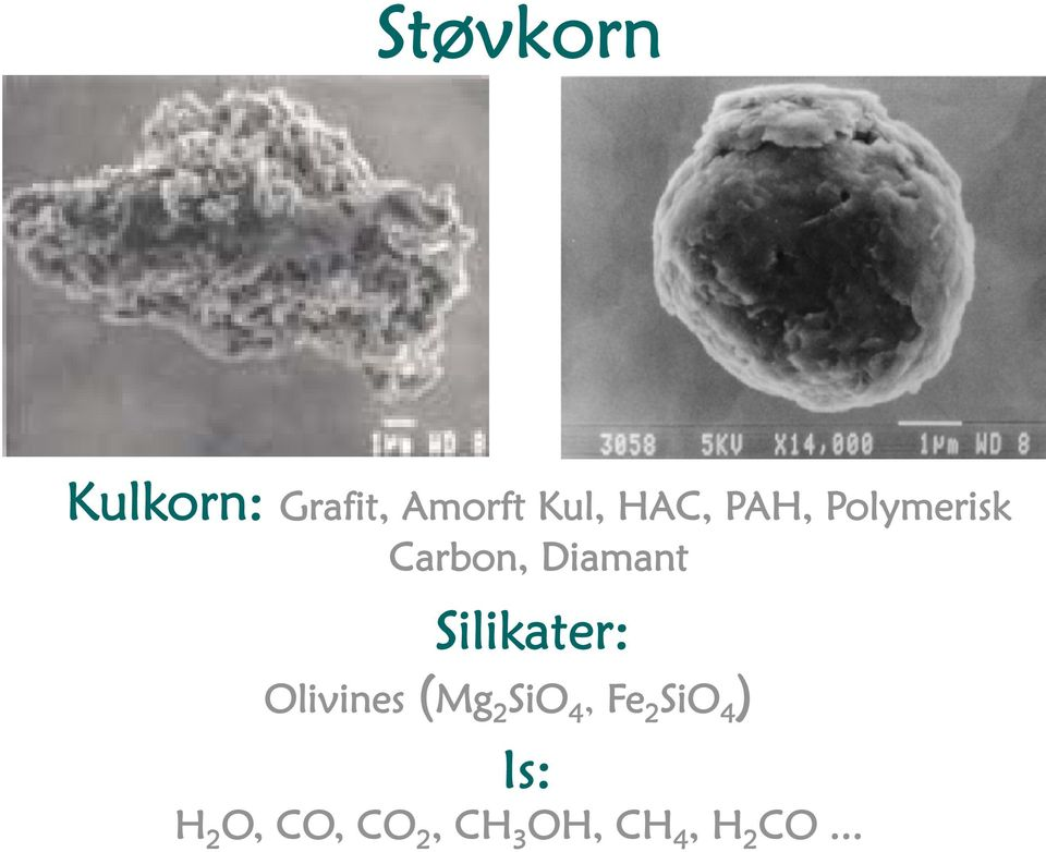 Silikater: Olivines (Mg 2 SiO 4, Fe 2 SiO