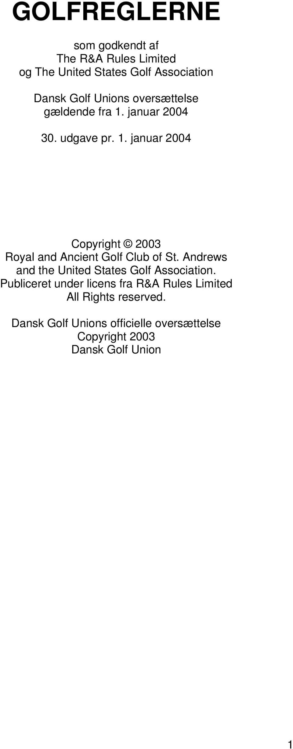 Andrews and the United States Golf Association.