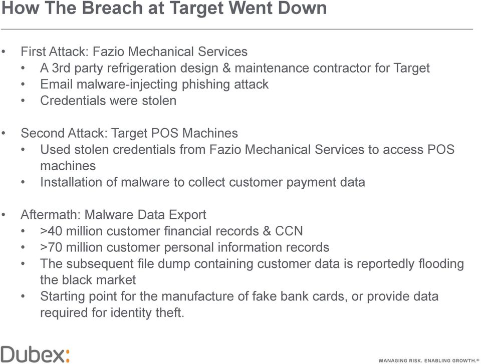 malware to collect customer payment data Aftermath: Malware Data Export >40 million customer financial records & CCN >70 million customer personal information records The