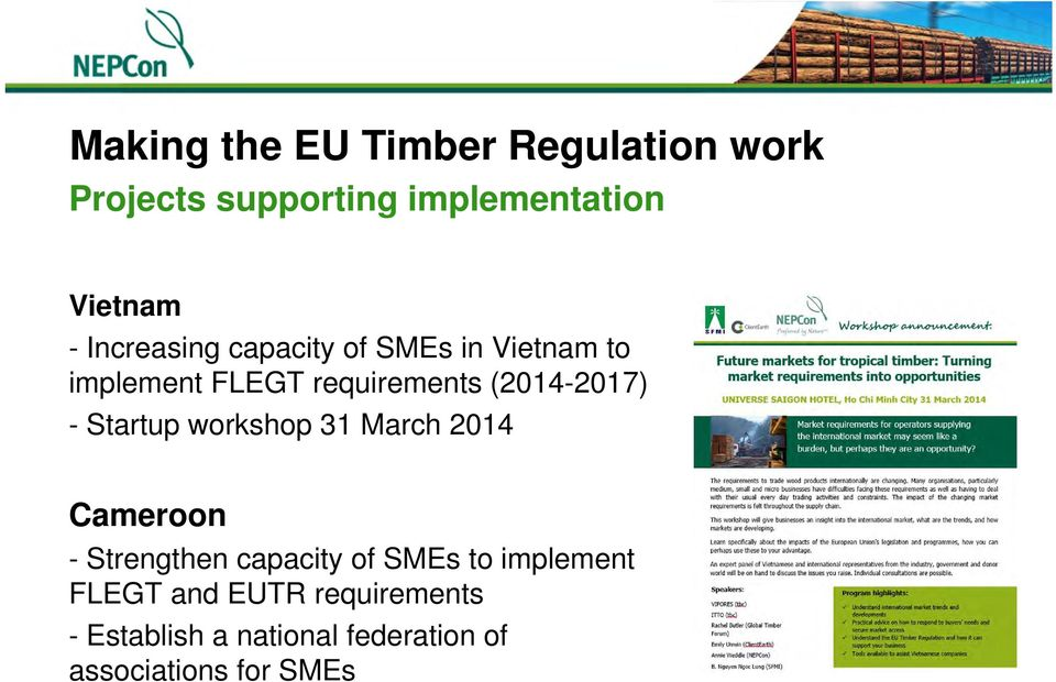 - Startup workshop 31 March 2014 Cameroon - Strengthen capacity of SMEs to