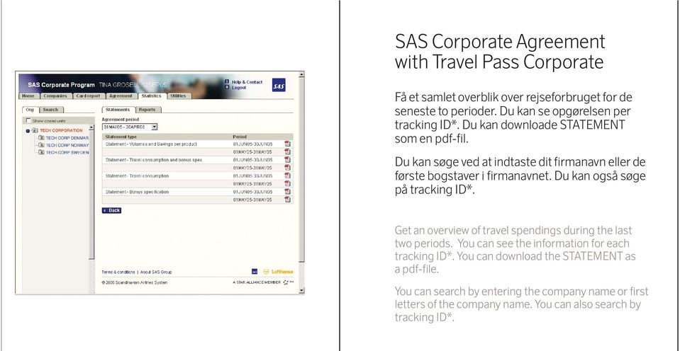 Du kan også søge på tracking ID*. Get an overview of travel spendings during the last two periods.
