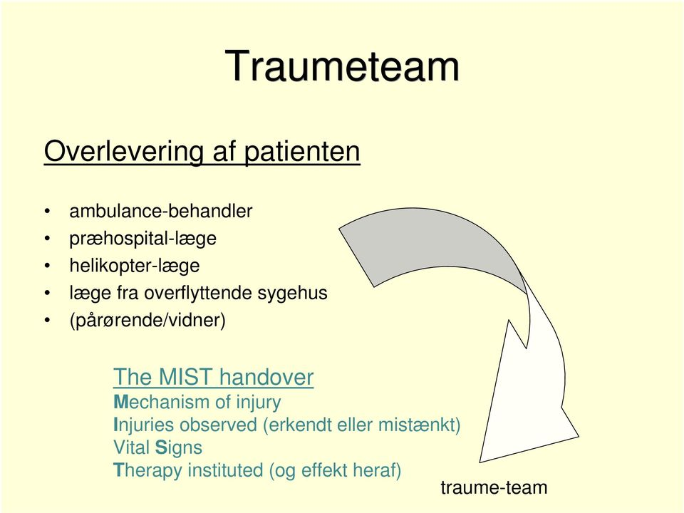 (pårørende/vidner) The MIST handover Mechanism of injury Injuries