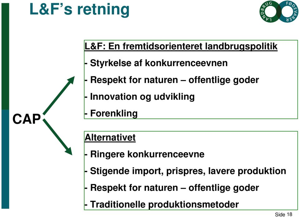 CAP - Forenkling Alternativet - Ringere konkurrenceevne - Stigende import, prispres,
