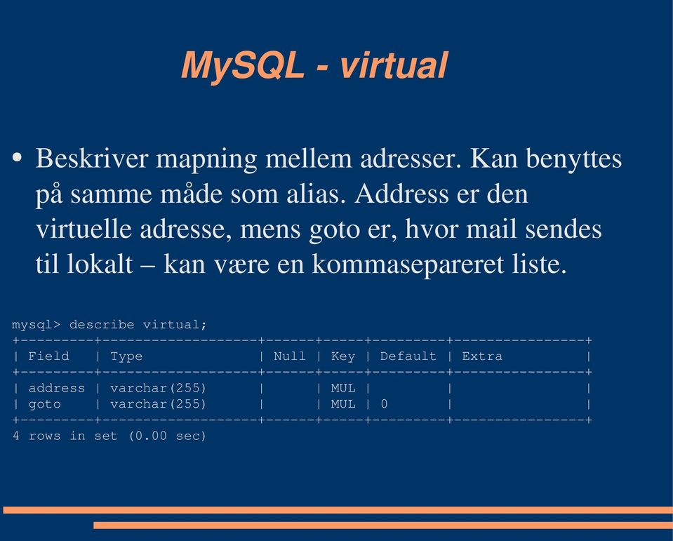 mysql> describe virtual; +---------+-------------------+------+-----+---------+----------------+ Field Type Null Key Default Extra