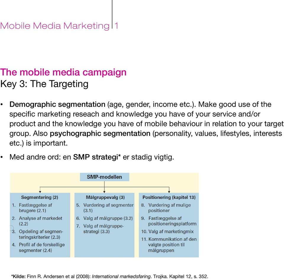 of mobile behaviour in relation to your target group.