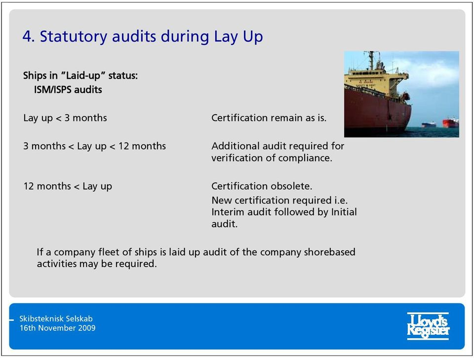 3 months < Lay up < 12 months Additional audit required for verification of compliance.