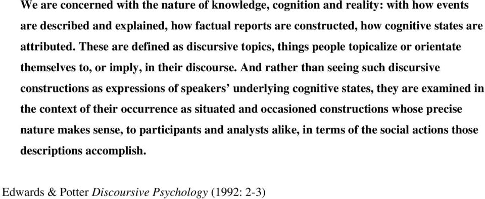 And rather than seeing such discursive constructions as expressions of speakers underlying cognitive states, they are examined in the context of their occurrence as situated