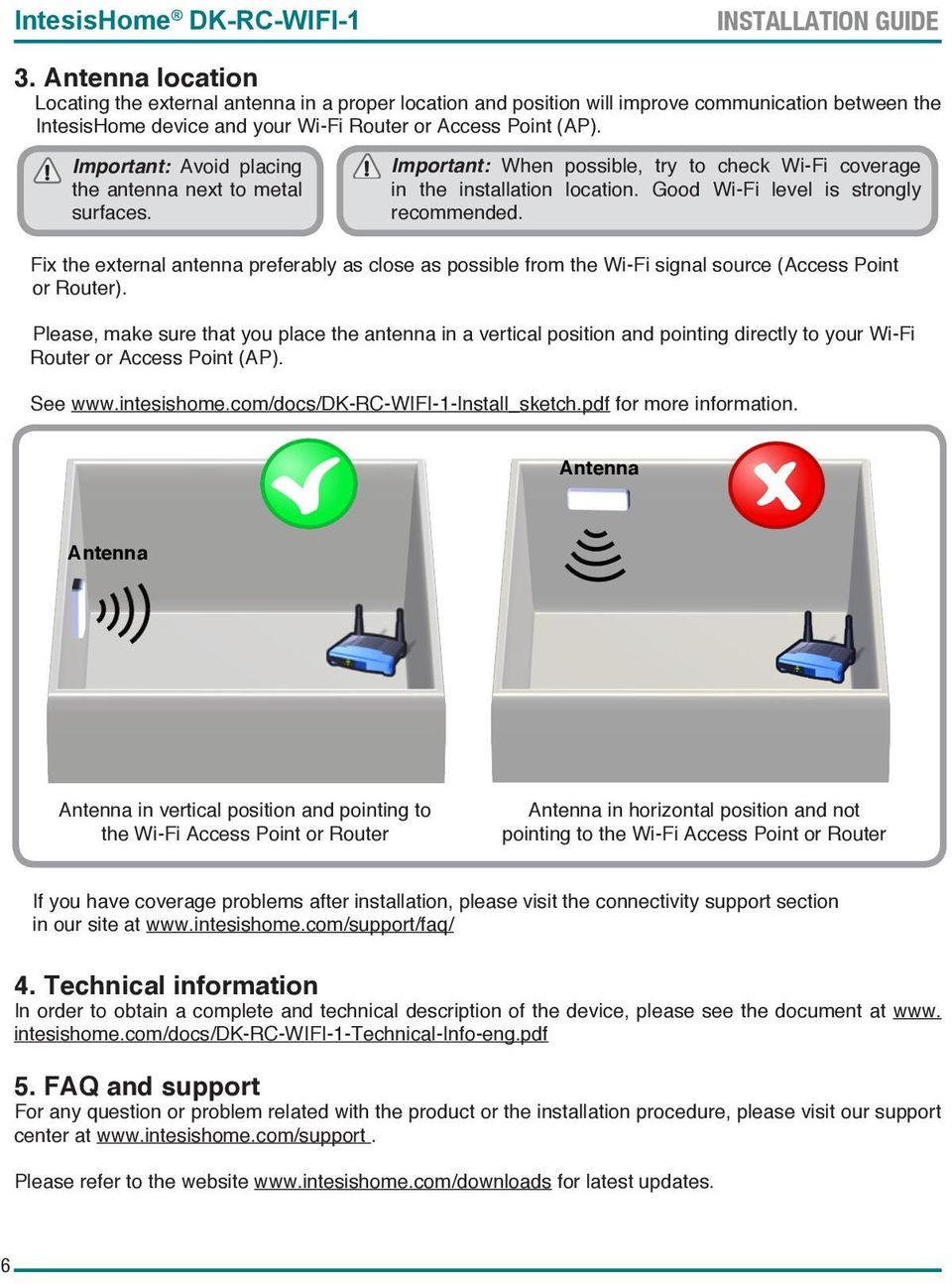 Important: Avoid placing the antenna next to metal surfaces. Important: When possible, try to check Wi-Fi coverage in the installation location. Good Wi-Fi level is strongly recommended.