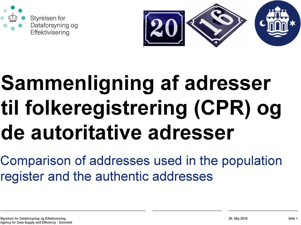 adresser Comparison of addresses used in