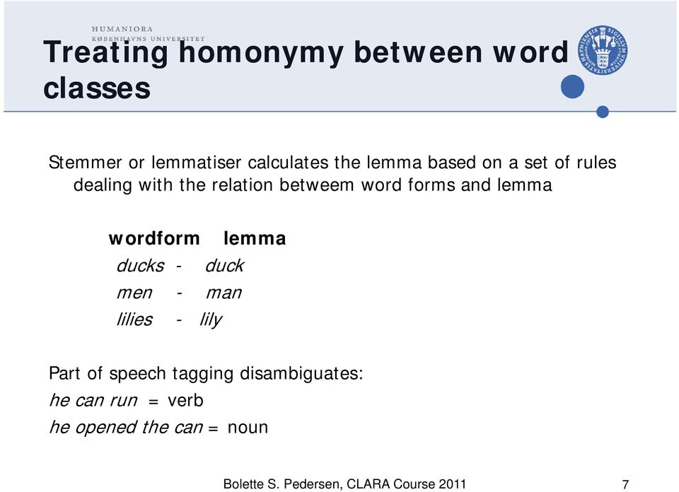 wordform lemma ducks - duck men - man lilies - lily Part of speech tagging g