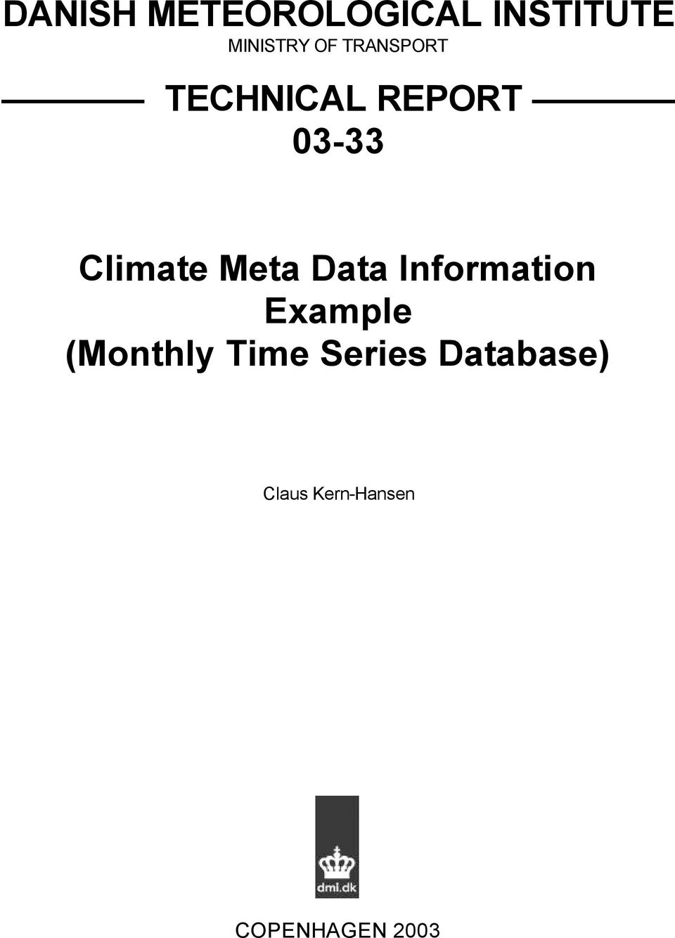 Meta Data Information Example (Monthly Time